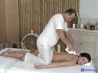 Needy abstruse wants hammer away masseur's cock right away