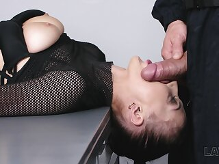 Having got her boobies plugged bitch Nicole Love is fucked doggy