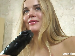 Cute babe has big soft tits and loves to fuck herself with her huge dildo