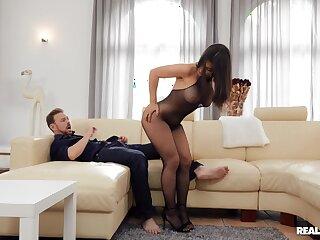 Seductive amateur in transparent lingerie, exclusive couch POV