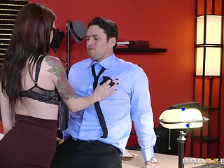 Mighty brunette secretary Anna De Ville ass dicked on a chiffonier