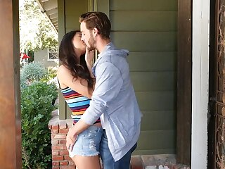 Babe with dimples Eliza Ibarra is licked and fucked by hot blooded boyfriend